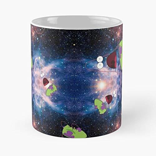 Nickelodeon Squarepants Galaxy Spongebob Star Surprised Patrick Meme I Fsggolden print- New and trendy design for 11oz White marble ceramic coffee mug