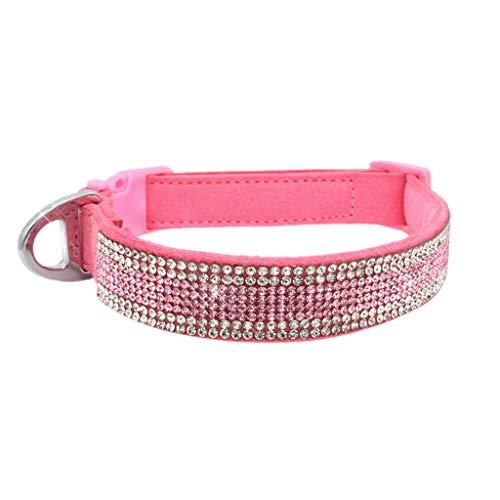 Yowablo Haustier Hundehalsband verstellbares Halsband Welpen Katze Strass Hals (1.5 * 25-30cm,3Rosa)