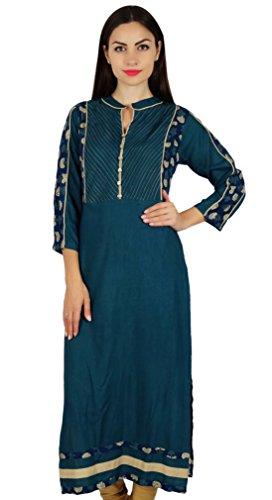 Bimba Frauen blau chic Stil Tunika indische Designer Kurta Kurti Boho Kragen Hals individuelle Bluse