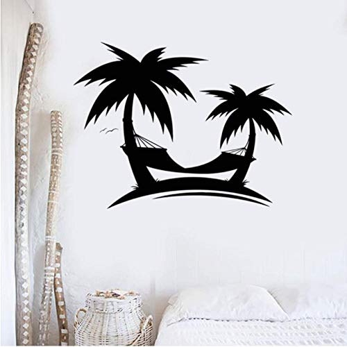 Palmas Playas Etiqueta de la pared Arte Mural Vacaciones Viajes Estilo del océano Casa Decoración interior Vinilo Etiqueta de la pared Autoadhesiva 42x32 cm