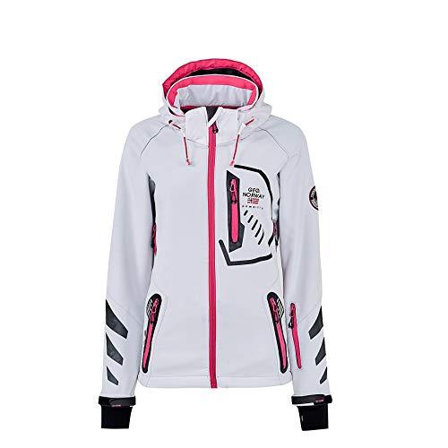 Geographical Norway Chaqueta deportiva para mujer de softshell funcional para exterior, para la lluvia Blanco XL