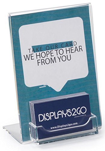 Set of 10, Clear Acrylic 5x7 Sign Holder with Business Card Display for Tabletop Use, L-Shaped Design with Slant Back