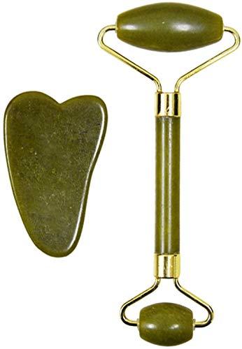Rodillo de jade para cara, rodillo de cara de jade, masajeador de jade, rodillo facial de jade, mejora la apariencia de tu piel (rodillo de doble cabeza verde oscuro + raspado)