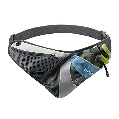 YUOTO Waist Pack with Water Bottle Holder for Running Walking Hiking Runners Hydration Belt fit Maximum 27oz and iPhone 8 Plus Men Women Sky Blue