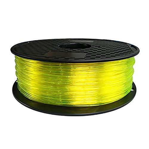 Transparent Yellow Flexible TPU 3D Printing Filament 1.75 Mm, TPU Filament 2.2 LBS (1KG), Dimensional Accuracy +/- 0.03 Mm