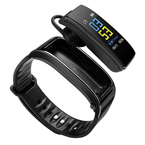 Hozora Pulsera Inteligente Auricular Bluetooth 2 en 1,Fitness Tracker Pulsera TalkBand con Llamadas Reproductor de Audio Auriculares Frecuencia cardíaca Calorías Paso Podómetro Distancia (Negro)
