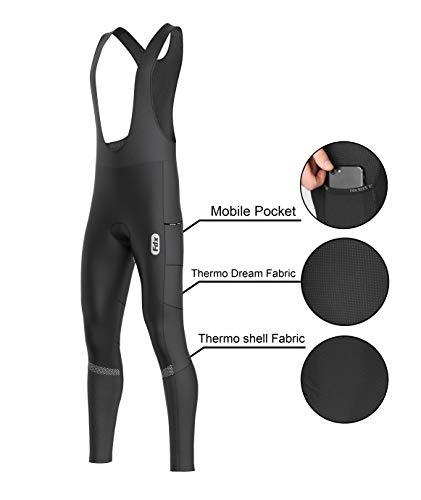 FDX Herren Trägerhose für den ganzen Tag, 3D-gepolsterte Thermo-Taschen, Winter-Radhose, Schwarz, Größe S