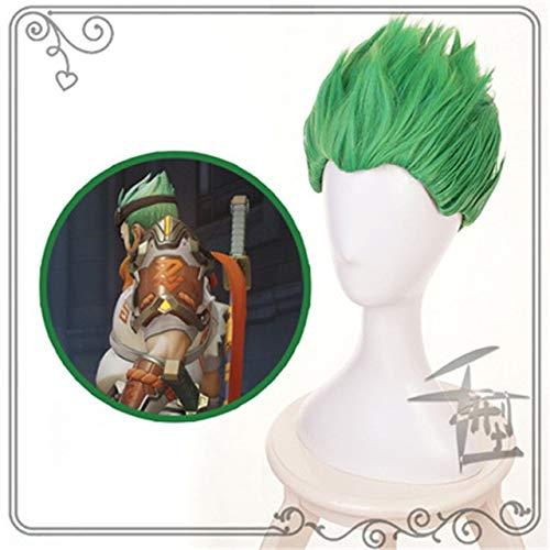 Overwatch Young Genji Ow Corto Verde / Negro Pelucas de disfraces de Cosplay Pelucas de pelo sinttico resistente al calor con espalda lisa Pelucas de Anime Qx Verde