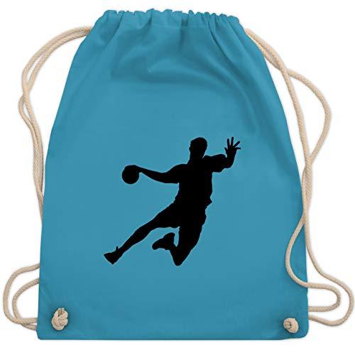 Shirtracer Handball Geschenk für Handballer - Handballer - Unisize - Hellblau - handball hummel - WM110 - Turnbeutel und Stoffbeutel aus Baumwolle