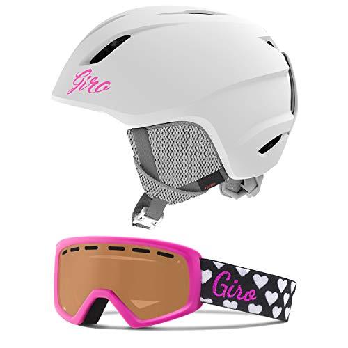 Giro Launch Kids Snow Helmet Goggle Combo Matte White/Magenta Hearts SM (52-55.5CM)