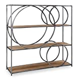 Powell Gun Metal and Wood Circle Chester Bookcase