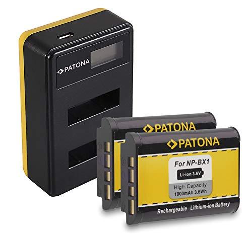 PATONA 2X NP-BX1 Bateria con Cargador Doble LCD Compatible con Sony CyberShot DSC-RX100 DSC-HX400 DSC-WX500 DSC-RX1R II