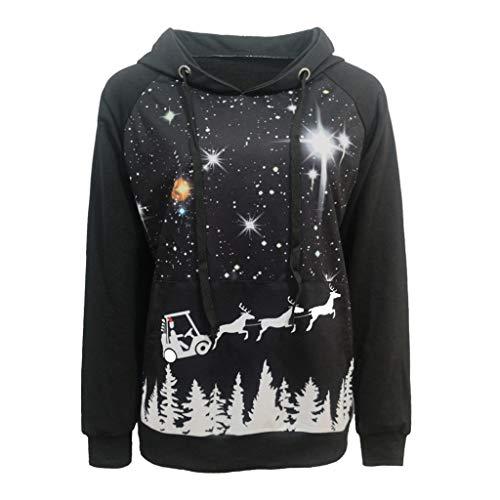 FOTBIMK Sweat À Capuche Imprimé Étoiles De Noël Grande Taille pour Femme avec Motif De Galaxie Sweat-Shirt Sweatshirt Tops Automne Et Hiver Noir S
