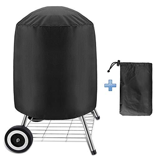 Linkstyle Kettle BBQ Grill Cover, Barbecue Grill Cover for Weber Charcoal Kettle, Heavy Duty Waterproof Round Gas Grill Cover for Char-Broil, Dia 24'x 28.5'H, Black