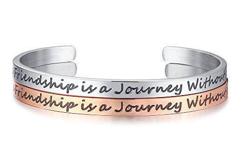 VNOX Eine Wahre Freundschaft ist Eine Reise Ohne Ende Inspirierende Zitat Manschette BFF Armreif für Frauen Mädchen,Inspirierende Schmuck Freundschaft Geschenk