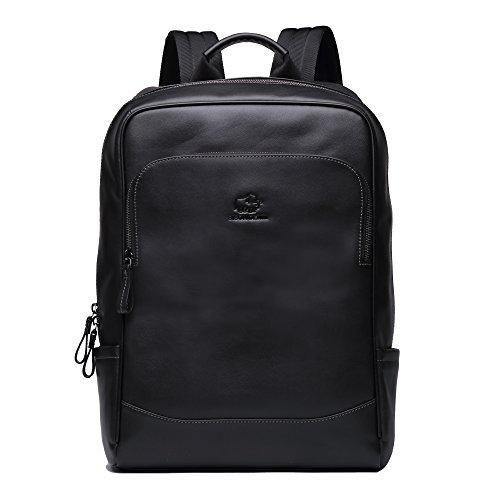 Bison Denim, zaino in pelle per la scuola, per laptop, per viaggi, escursioni, business, N2757-1B, N2757-1B