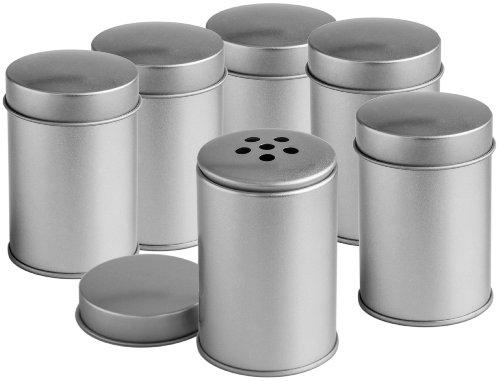 Rimoco 6er Pack Gewürzdosen mit grobem Streueinsatz und Deckel | Ideal für grobe Gewürze oder Kräuter| Höhe: je ca. 8,6 cm, Ø je ca. 5,5 cm | Dosen Material: Weißblech | BPA-frei und lebensmittelecht