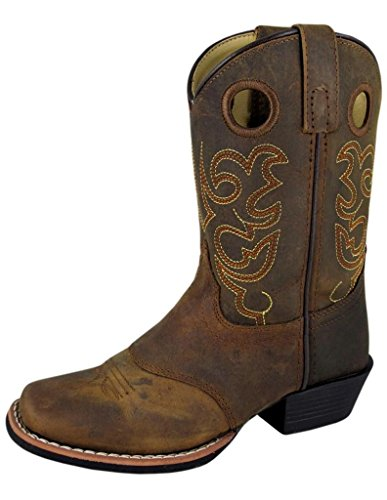 Smoky Mountain Childs Western Sedona Saddle SQ Toe Boots Brown Distress, 1 M US Little Kid