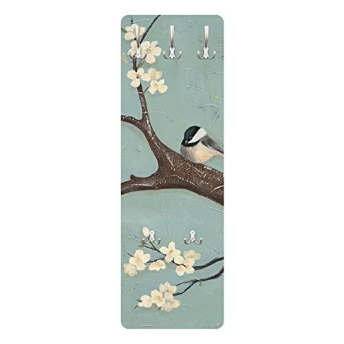 Bilderwelten Garderobe Garderobenpaneel Wandmontage Holz - Meise auf Kirschbaum 139 x 46cm