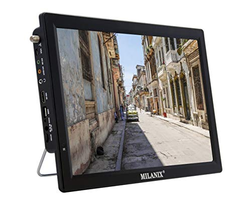 Milanix 14.1' Portable Widescreen LED TV with HDMI, VGA, MMC, FM, USB/SD Card Slot, Built in Digital Tuner, AV Inputs, and Remote Control