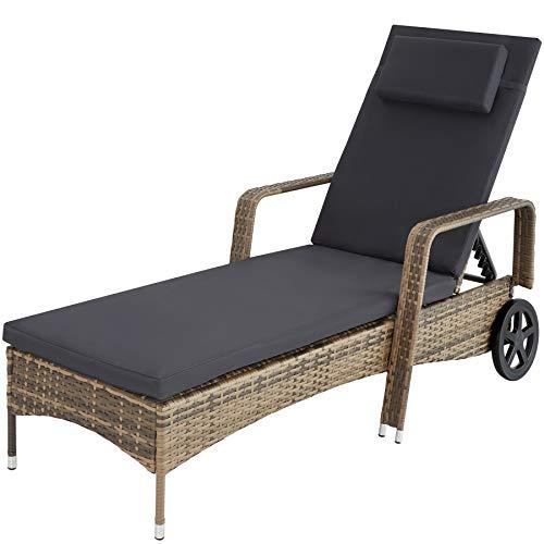 TecTake 800077 Chaise Longue Bain de Soleil en Résine Tressée Transat - diverses Couleurs au Choix - (Marron Naturel | No. 403781)