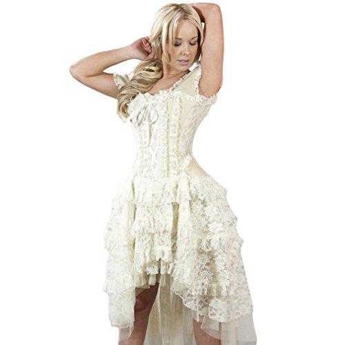 Burleska Damen Korsett Kleid - Ophelie Taffeta Creme Dress Viktorianisch (46)