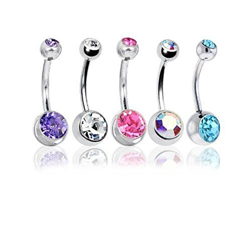BODYA Belly Bars Balls Surgical Steel Belly Button Jewelry, Pack of 5, Body Piercing Jewelry (Style-1)