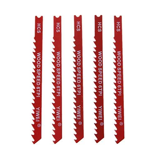 cxnwuggfvsc 5 Stück haltbare U-Schaft High Carbon Stahl 6 TPI Reciproating Sägeblätter Cutter für Holz Jig Schneiden