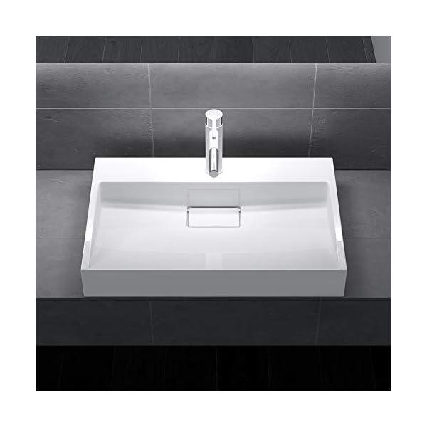 Sogood: Lavabo sobre encimera blanco de diseño Colossum 19, 50 cm de Ancho | Lavabo con orificio para grifo.