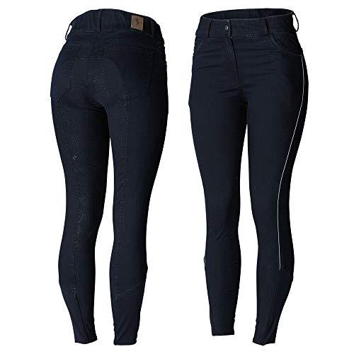 Limited Edition - Mikaela Damen Jeans-Vollbesatzreithose mit hohem Bund, Blau, 42