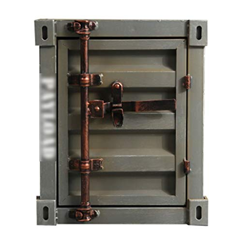 Tresore Sicherheit, retro Box Eisenschrank Schrank Vitrine - grau Pinsel Silber - 40X38X48cm Insurance Box Möbeltresore