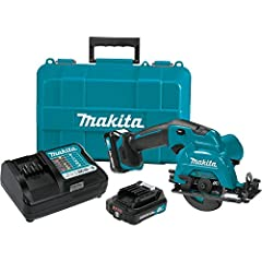 """Makita-built motor delivers 1,500 RPM for faster cutting 3-3/8"""" blade delivers a maximum cutting depth of 1"""" for a wide range of cutting applications Adjustable cutting depth from 1"""" at 90Degree and 5/8"""" at 45Degree Tilting base for bevel cuts from 0..."""