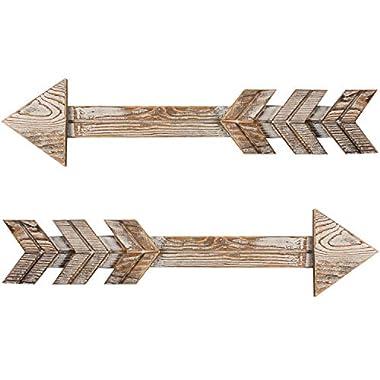 TIMEYARD Arrow Decor, Set of 2 Arrows, Rustic Wood Arrow Sign Wall Decor - Decorative Farmhouse Home Wall Hanging Decor