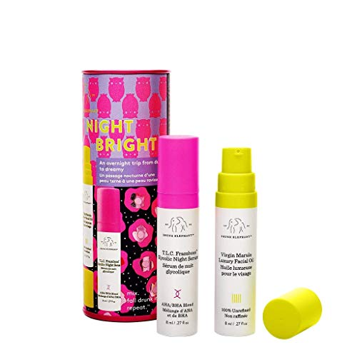 Drunk Elephant NightBright Duo - Nighttime Skincare Routine with T.L.C. Framboos Glycolic Night Serum and Virgin Marula Luxury Facial Oil (8 ml each)