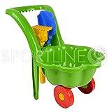 Attrezzi da giardino per bambini, carriola, giocattolo per la sabbia + paletta + rastrello (verde)