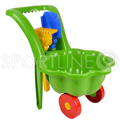 Gartengeräte für Kinder Schubkarre Garten Kinder Spielzeug Sandspielzeug Sandkasten + Schaufel + Rechen (Grün)