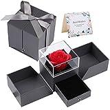 GuKKK Rosa Eterna Caja de Joyería Ramos, Rosa Eterna Caja de Joyería Bella, Rosa Eterna Caja de Almacenamiento, Caja de Joyería de San Valentín Regalos, para Aniversario, Día de la Madre