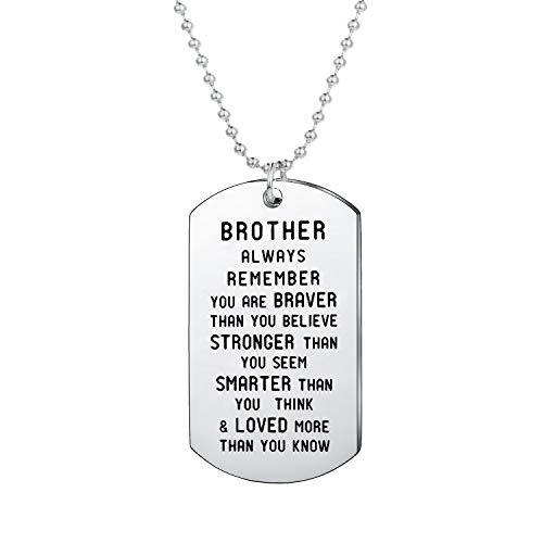BESPMOSP Brother Inspirational Gift You are Braver Than You Believe Pendant Necklace/Keychain Gift for Brother