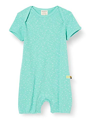 loud + proud Baby-Mädchen Short Romper Waffle Knit Organic Cotton Strampler, Grün (Mint Min), (Herstellergröße: 62/68)