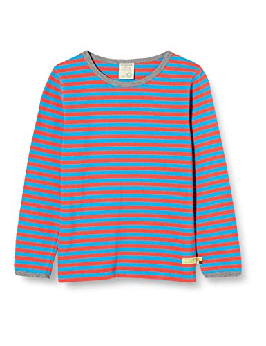 loud + proud Kinder-Unisex Ringel T-Shirt, Aqua/Melon, 74/80
