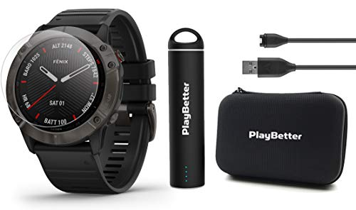 Garmin Fenix 6X Sapphire (Gray DLC with Black Band) Power Bundle with HD Screen Protectors, PlayBetter Portable Charger & Protective Hard Case | PulseOx, ClimbPro, Maps, PacePro, Spotify, Music