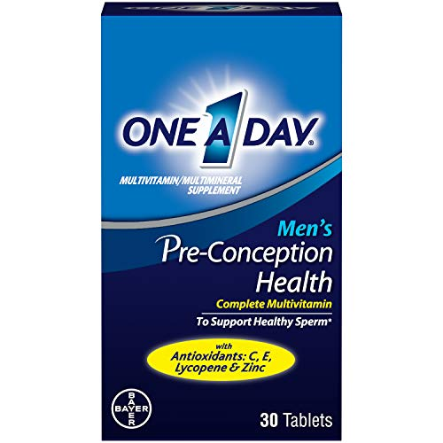 One A Day Men's Pre-Conception Health Multivitamin to Support Healthy Sperm, Supplement for Men with Vitamin C, Vitamin E, Selenium, Zinc, and Lycopene, 30 Count