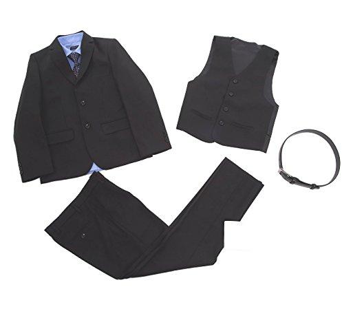 【ボーナヴィータ】 男の子 スーツ 7点セット ブラック 卒業式 入学式 結婚式 キッズ 黒無地 145 150 155 160 七五三 フォーマル (155)