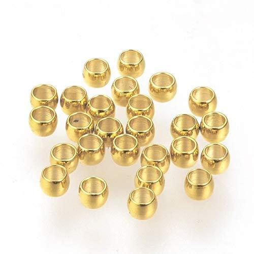1000 cuentas de acero inoxidable 304 engarzado cuentas sueltas para hacer joyas, pulseras, collares, 1/2/2.5/M-dorado, 2.5 x 1.5 mm