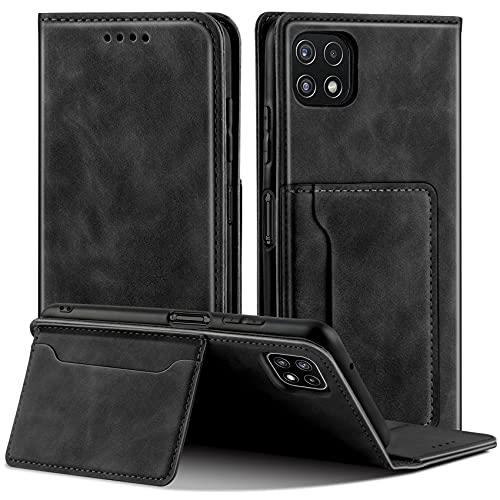 QHOHQ Fundas Cartucheras para Samsung Galaxy A22 5G (No Galaxy A22 4G), Soporte Inteligente Cuero de Primera Calidad Magnético Estilo de Negocios Case para Samsung A22 5G -Negro