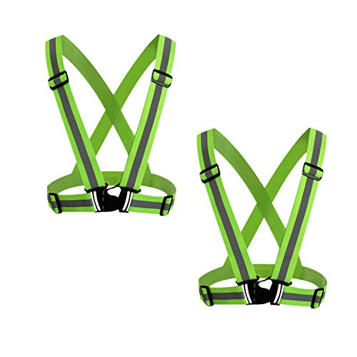 GOZAR 2 Piezas Reflexivo Chaleco Ajustable Alto Visibilidad Chaleco con Tiras Reflectantes Brillantes Equipo Transpirable Ligero para Noche Corriendo Construcción y Ciclismo-Amarillo Fluorescente