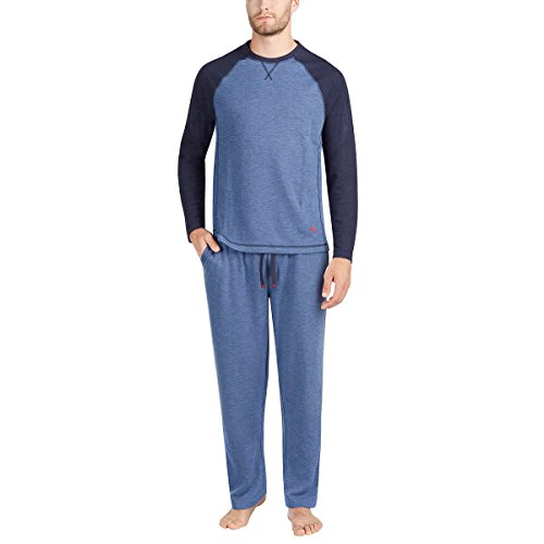 Tommy Bahama Men's Pajama Set, Crew Neck Top and Drawstring Pant (Navy, Small)