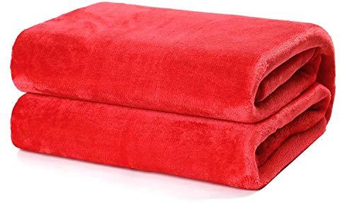 Besch Manta Franela para sofá y Cama Microfibre Extra Suave (Rojo, 160x220cm)