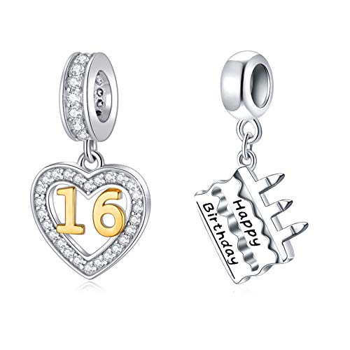 Celebrate Birthday Charms Set fits DIY Bracelet, Champagne Ice Bucket Charms and 16 Years of Love Charms Jewelry Set in 925 Sterling Silver, Best Gifts for Anniversary/Party/Merry Christmas