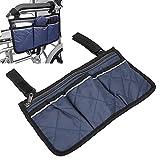 Bolsa lateral para silla, bolsa lateral para silla de ruedas Bolsa para reposabrazos Oxford para sillas de oficina para sillas de ruedas(navy blue)